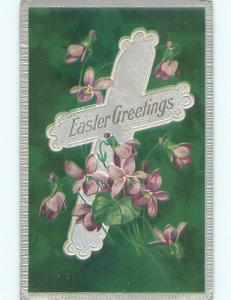 Pre-Linen easter religious JESUS CHRIST WITH PURPLE FORGET-ME-NOT FLOWERS J2128