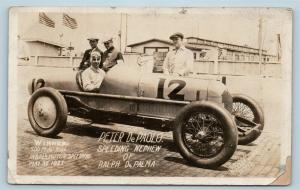 Postcard Photo RPPC 1925 Indianapolis 500 Winner Peter DePaolo in Car Q14