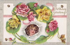 Birthday Greetings, Yellow and pink roses, face of girl, PU-1910