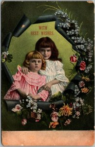 1900s PFB Greetings Postcard With Best Wishes Girls Sisters Series 3784
