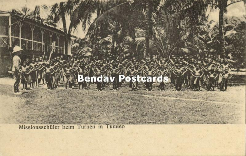 german new guinea, Papua Mission Schoolchildren at Gymnastics in Tumleo (1910s)