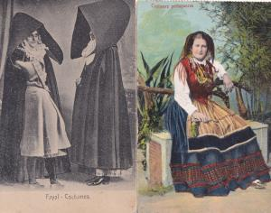 Fayal Costumes Portugal Fashion 2x Old Postcard s