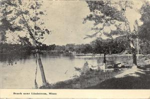 Lindstrom Minnesota~Beach Scene~Boats on Shore~Trees over Water~1912 B&W Pc