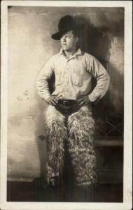 Cowboy in Wool Chaps - Costume? c1915 Real Photo Postcard myn