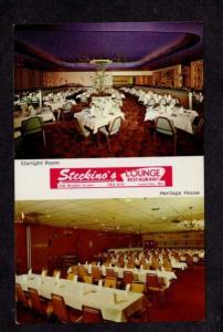 ME Interior Steckino's Lounge Restaurant Lewiston MAINE Postcard PC