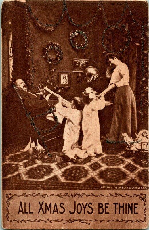 Vtg Carte Postale 1909 Toutes Noël Joys Être Thine Bd - Ruth & Langley Unp