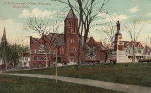 Vintage Postcard 1909 M. E. Church and Soldiers Monument Derby Connecticut CT