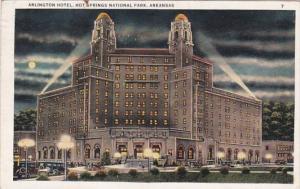 Arkansas Hot Springs The Arlington Hotel At Night 1932