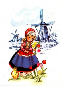 Holland Dutch Girl In Local Costume With Windmill