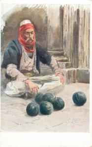 Ethnic type Postcard albanian melon seller street folk job