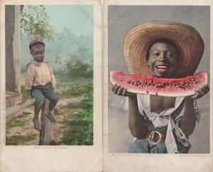 Little Eb Snow Antique 2x African American Child Postcard s