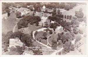 Aerial View Augustana College Campus Rock Island Illinois Real Photo