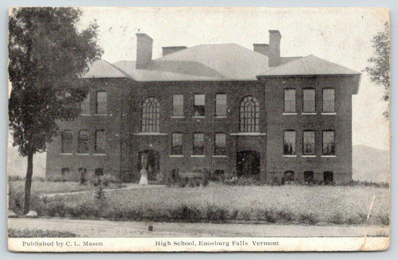 Enosburg Falls Vermont~High School~Students in Open Window~Lady @ Entrance~1912