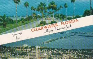 Florida Greetings From Clearwater Showing Causeway and Aerial View