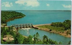 Jasper, Texas Postcard Dam B Reservoir & State Park Aerial View c1950s Unused