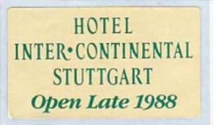 GERMANY STUTTGART HOTEL INTER CONTINENTAL VINTAGE LUGGAGE LABEL