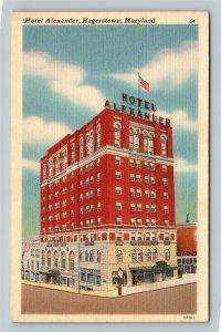 Hagerstown MD, Historic Hotel Alexander, Clock, Flag, Linen Maryland  Postcard