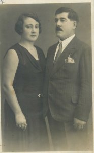 Post card moustache gentleman and lady charming elegant couple picture