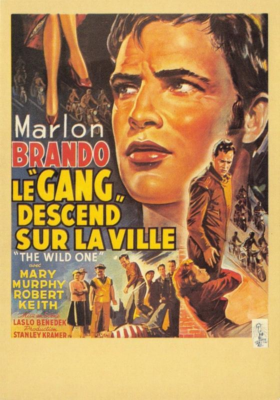 Postcard Marlon Brando, The Wild One, 1954 French Repro Advertising Card #M