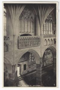 UK England Exeter Cathedral Minstrels Gallery RPPC Tucks Real Photo Postcard