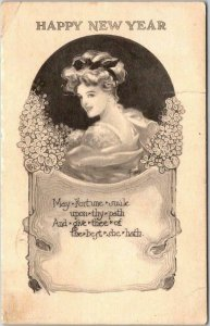 Vintage 1911 HAPPY NEW YEAR Greetings Postcard Pretty Lady May Fortune Smile…
