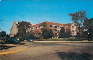 Lafayette Indiana~Purdue University Field House~Gymnasium~Corner View~Cars~1950