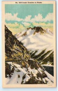 *Alaska Mountains Snow Winter Clouds Railroad Train Tracks Vintage Postcard C11