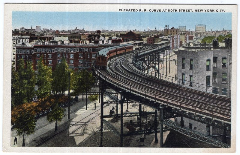 Elevated R. R. Curve At 110th Street, New York City