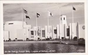 New York World's Fair Foreign Exhibit Builidng and Lagoon Of Nations Real Photo
