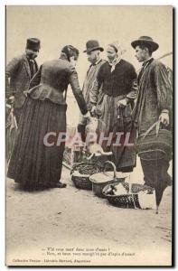 Postcard Old Vle Folklore you lett deuz d & # 39mais! (Rabbit rabbit walking)...
