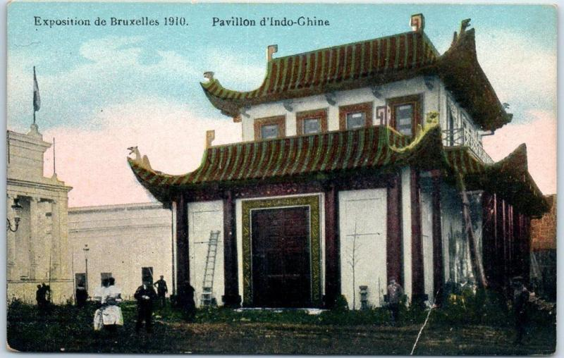 Brussels International 1910 Postcard Pavillon d'Indo-Chine Indochina Exhibit