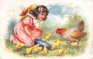 Easter~Little Brundage Girl in Pink Feeds Lil Rooster Chicks~Hen~Emb~1907 TUCK