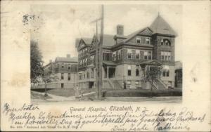 Elizabeth NJ Gen Hospital c1910 Postcard