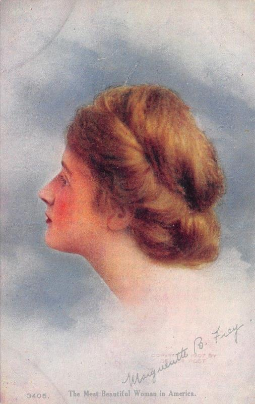 Margueritte B Frey~Signed~Head Study in Clouds~Chignon~Beauty Contest Winner '07