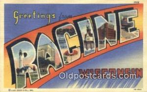 Racine, Wisconsin, USA Large Letter Town Postcard Post Card Old Vintage Antiq...