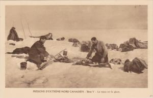 Catholic Missionaries Cooking Meal Over Campfire on Ice, Northwest Territory,...