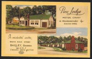 Pine Lodge Motor Court Baxley Georgia Unused c1940s
