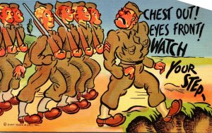 Military Humour Soldiers Marching Chest Out Eyes Front Watch Your Step Curteich
