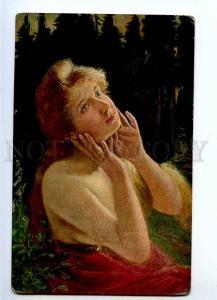 187780 Semi-Nude BELLE w/ Long Hair NYMPH Fairy SUN Vintage PC