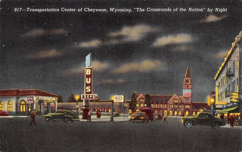 Cheyenne WY Railroad/Bus Depots @ Night~Transportation Center~Art Deco Sign 1940