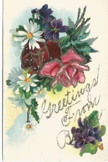 Antique Postcard Greetings From Boston Bouquet of Flowers Red and Pink Roses B