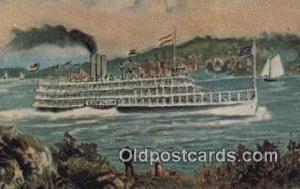 Steamboat Robert Fulton, Albany, New York, NY USA Ferry Ship Postcard Post Ca...