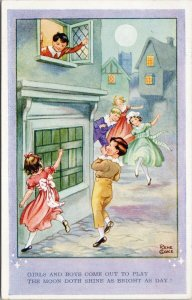 Rene Coke 'Girls & Boys Come Out To Play' Children Playing Signed Postcard F70