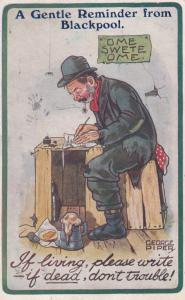 Tramp In Blackpool A Gentle Reminder Home Sweet Home Old Comic Humour Postcard