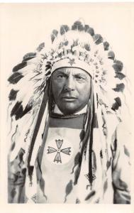 D91/ Native American Indian Real Photo RPPC Postcard 1956 Headdress Chief 18