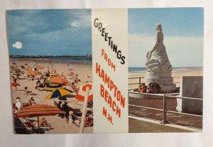 Postcard Hampton Beach New Hampshire 1961 Ocean View Newton Upper Falls Mass