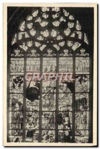 Postcard Ancient Church Of Brou Stained L & # 39Assomption Of The Virgin