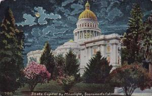 California Sacramento State Capitol By Moonlight