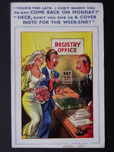 Comic Postcard MARRIAGE REGISTRY OFFICE - COME BACK c1950/60's by Bamforth 1317