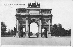 France Paris L'Arc des Tuileries Arch Statues Postcard